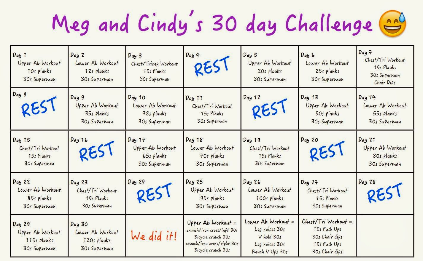30 Day Chest Challenge | 2015 Calendar Printable