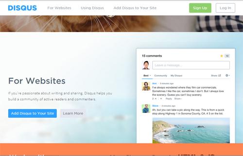 Disqus Home Page Screenshot