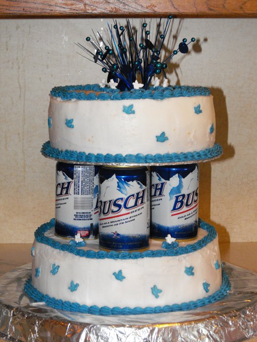 I Am Not Sure What Troubles Me More About This Cake The Busch Beer Cans Used For Columns To Hold Up Or Tinfoil Base