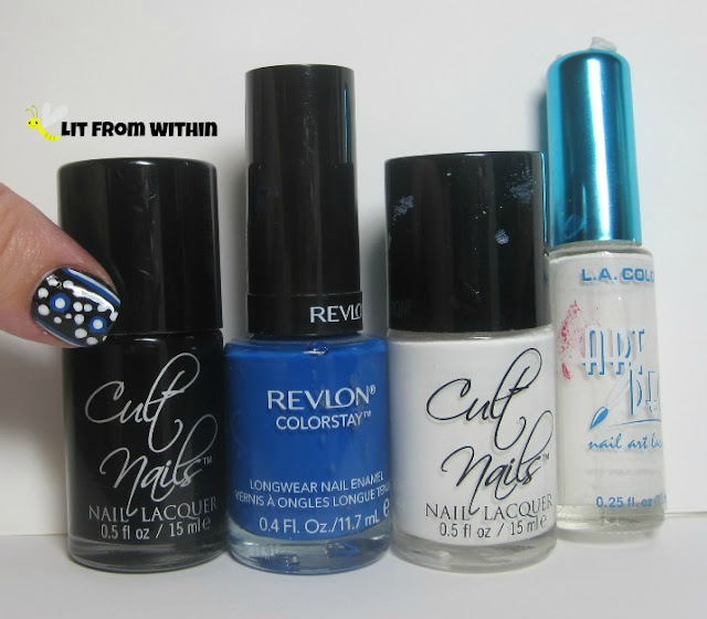 Bottle shot:  Cult Nails Nevermore and Tempest, Revlon Indigo Night, and a white striper