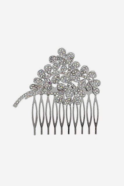 flower rhinestone comb