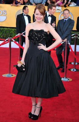 Emma Stone Strapless Dress