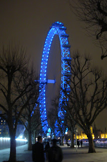 view of London Eye at night