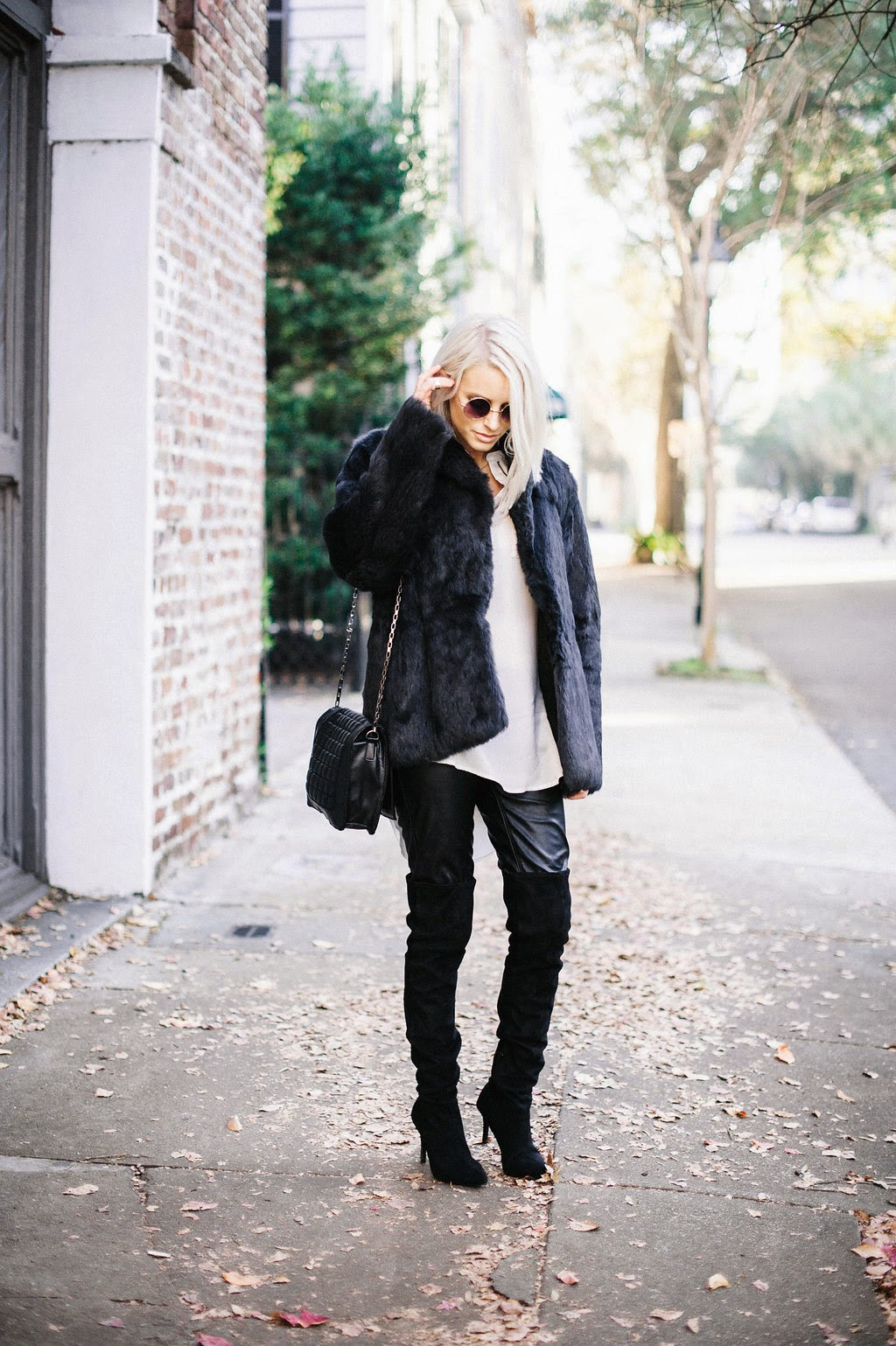 black fur coat thrift find goodwill chiffon white zip up tunic top shirt h&M forever 21 leather pants over the knee black suede boots thigh highs pointed high heels platinum blonde tousled straight hair long bob hairstyles of 2015 julianne hough jessica simpson look-a-like charleston street style sc south carolina fashion blogger cannon k collard like the yogurt