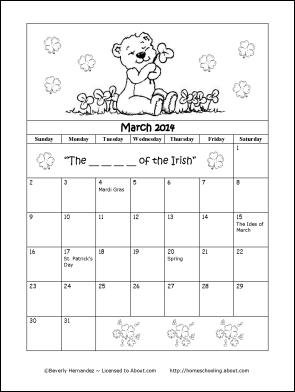 March 2014 Calendar for Kids - Printable Calendar 2014, Blank Calendar ...