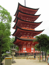 5-story Vermillion Pagoda adjacent to Itsukushima Shrine, Miyajima Island, Japan