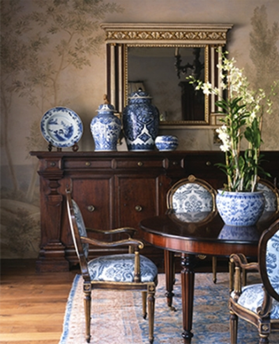 Eye for design blue and white decor a perennial favorite for Decorating with blue and white pottery