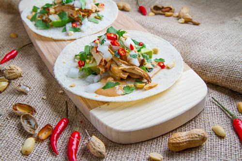 Spicy Peanut Chicken Tacos on Closet Cooking