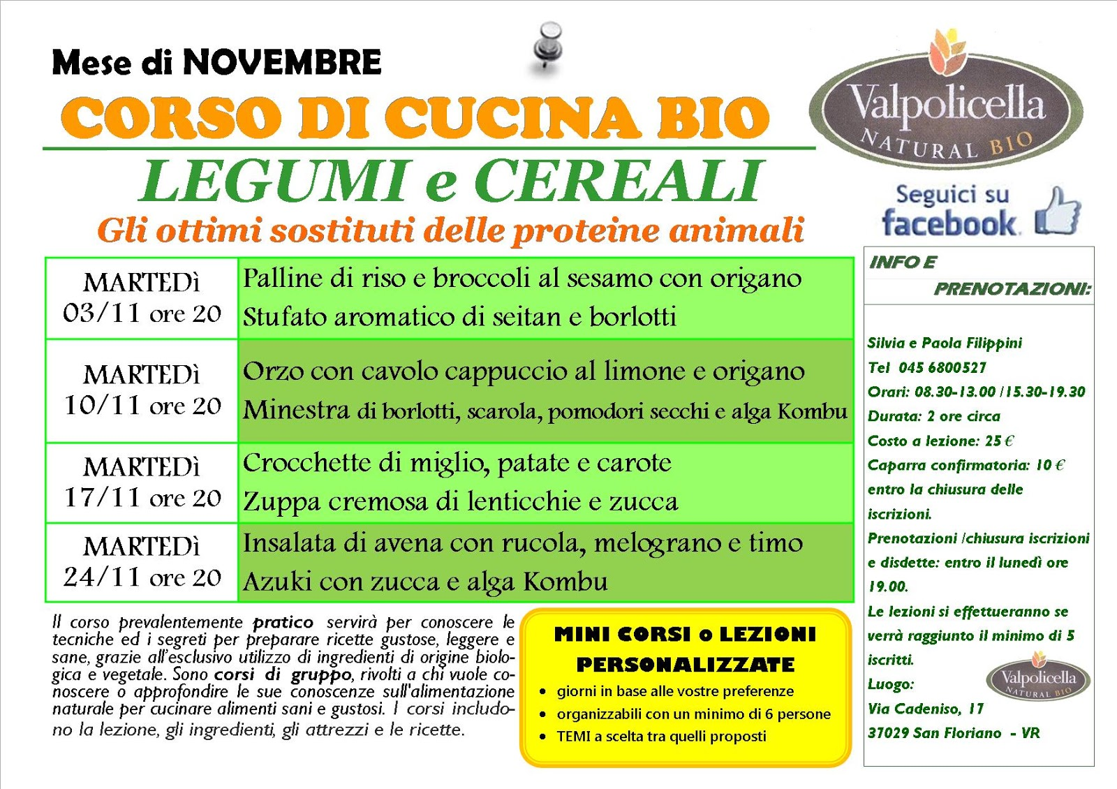 corso di cucina legumi e cereali a san floriano vr a novembre 2015