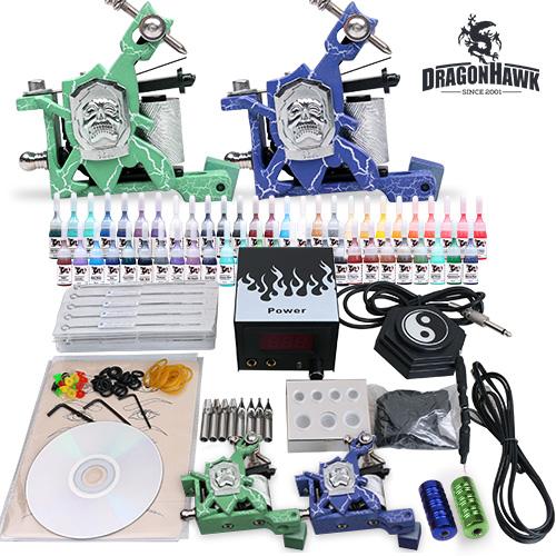 Tattoo supplies tattoo starter kit 2 machine guns 54 for Difference between shader and liner tattoo machine