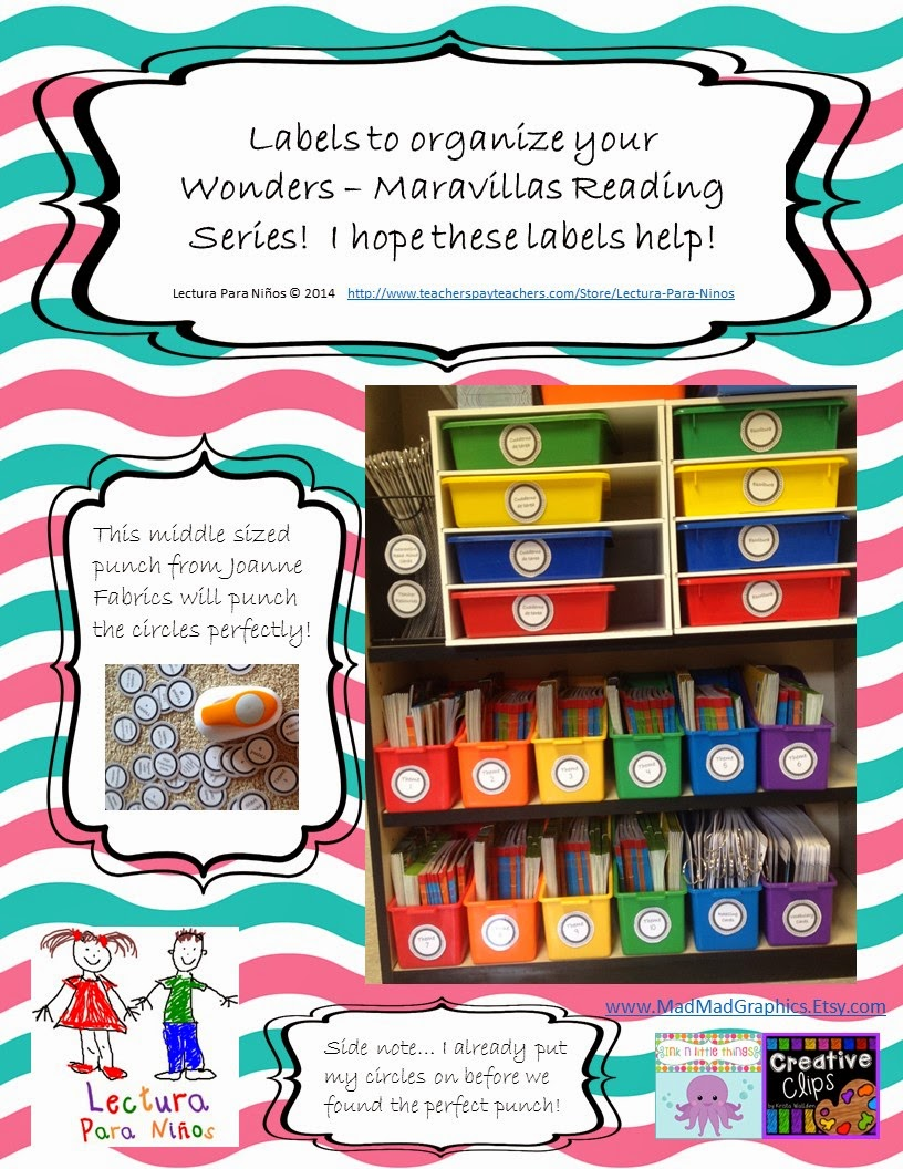 http://www.teacherspayteachers.com/Product/LABELS-for-Organizing-your-Wonders-Maravillas-Reading-Series-1383474