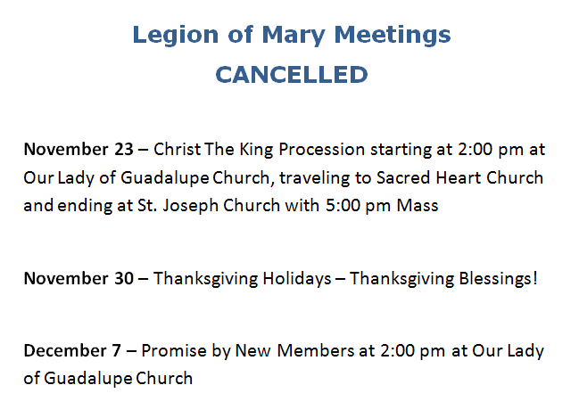 LOM meetings CANCELLED