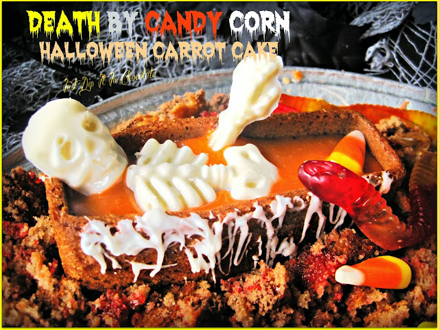 Death by Candy Corn Halloween Carrot Cake Recipe, Our dear friend Bones had too much of the treat he loved the most, Candy Corn, a tasty recipe is part of his obituary...follow it and join him in the afterlife, if you dare....