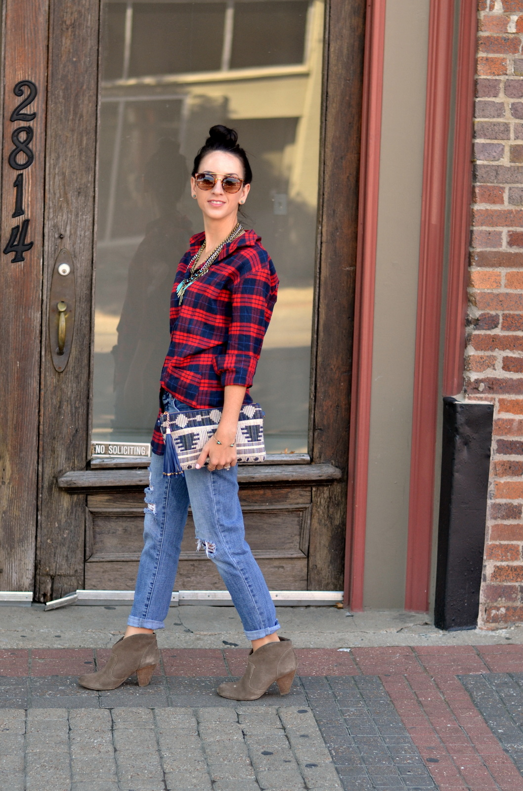 Fall Flannel, Booties, Top Knot, Distressed Denim