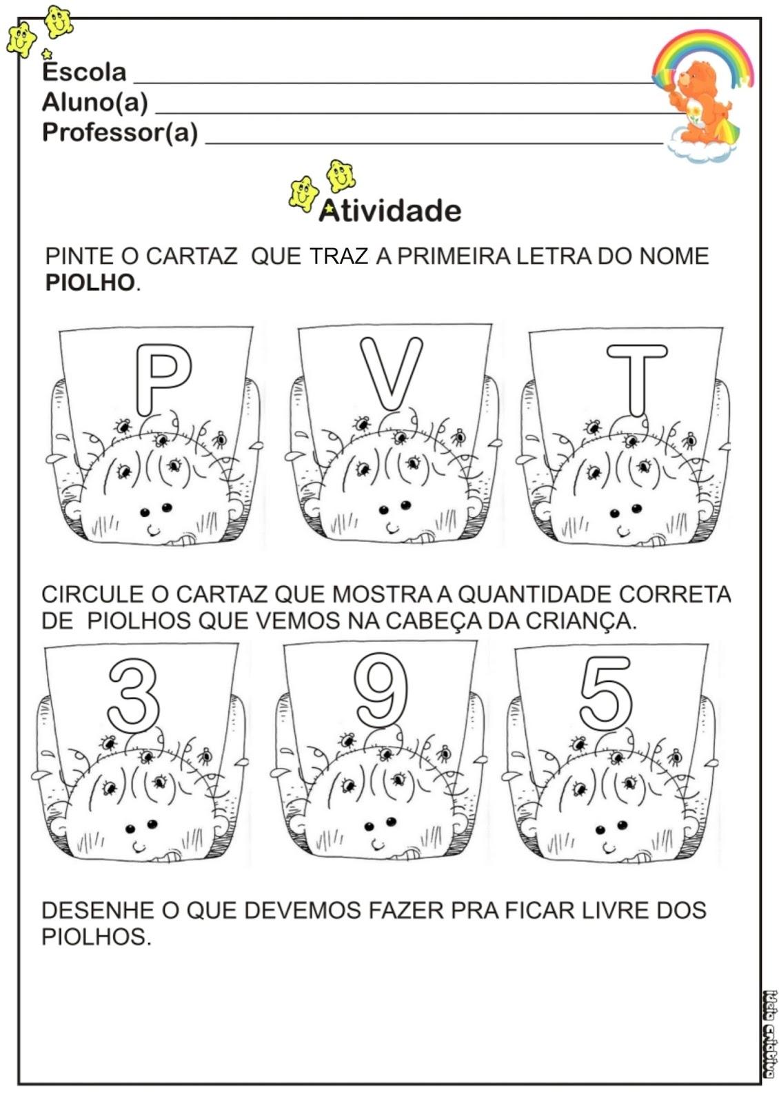 atividades horta pomar jardim educacao infantil:Atividade Higiene Letra Inicial / Piolhos