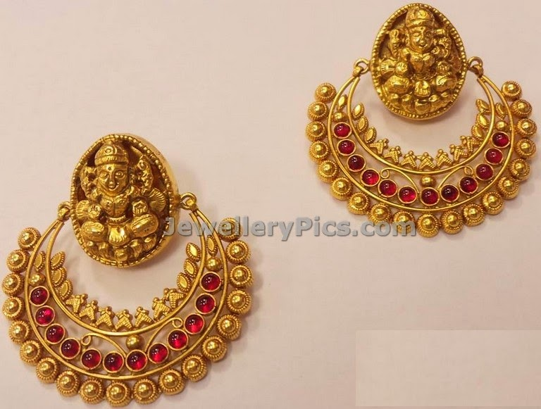 temple gold chandbali design by nathella