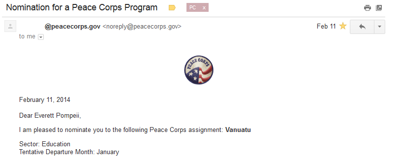 Peace Corps Assignment