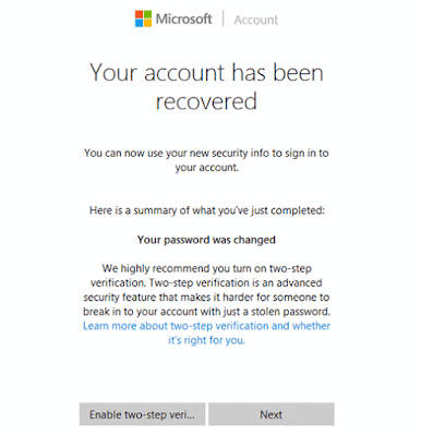 successfully change Windows 10 Microsoft account password