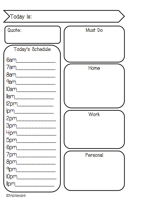 ... Insert Printable Rounded On Two Pages Daily Schedule Free Printable