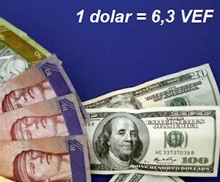 Equivalencia entre el dólar y los bolívares