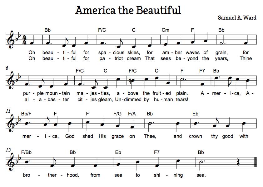 America the Beautiful (Ward)   Free Easy Piano Sheet Music