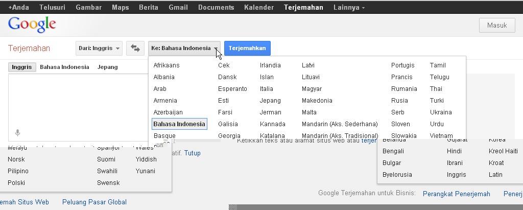 Cara Terjemahan Bahasa Jawa via Google