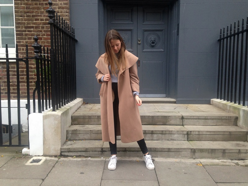 outfit, ootd, outfit of the day, blogger, fashion, fashion blogger, trend, style, autumn, winter, fall, camel, tan, coat, turtleneck, superstars, adidas, adidas superstars, white, grey, london, uk, england, brighton, undersizedcloset, undersized closet, blogger_lu, monki
