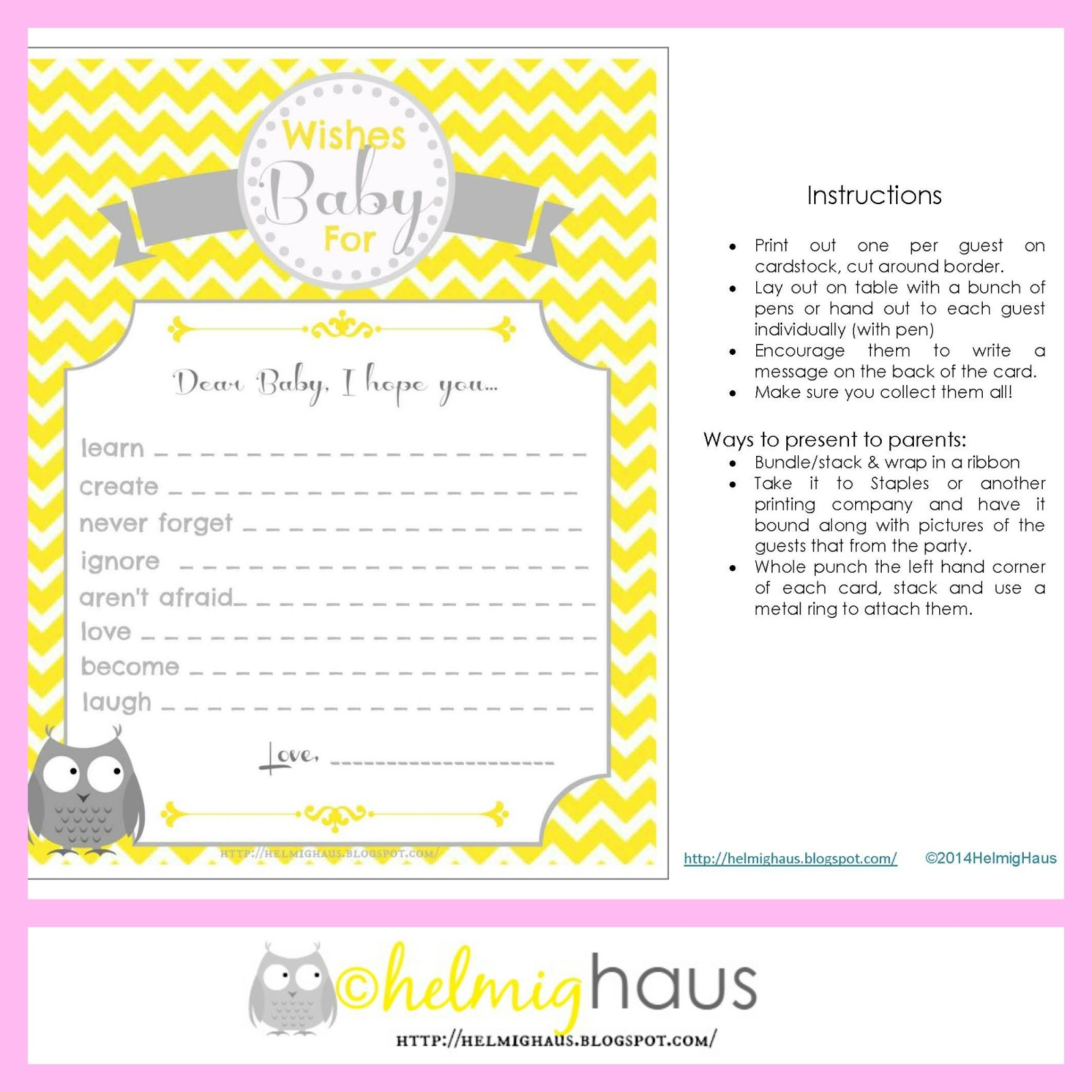 HelmigHaus Free Baby Shower Printables