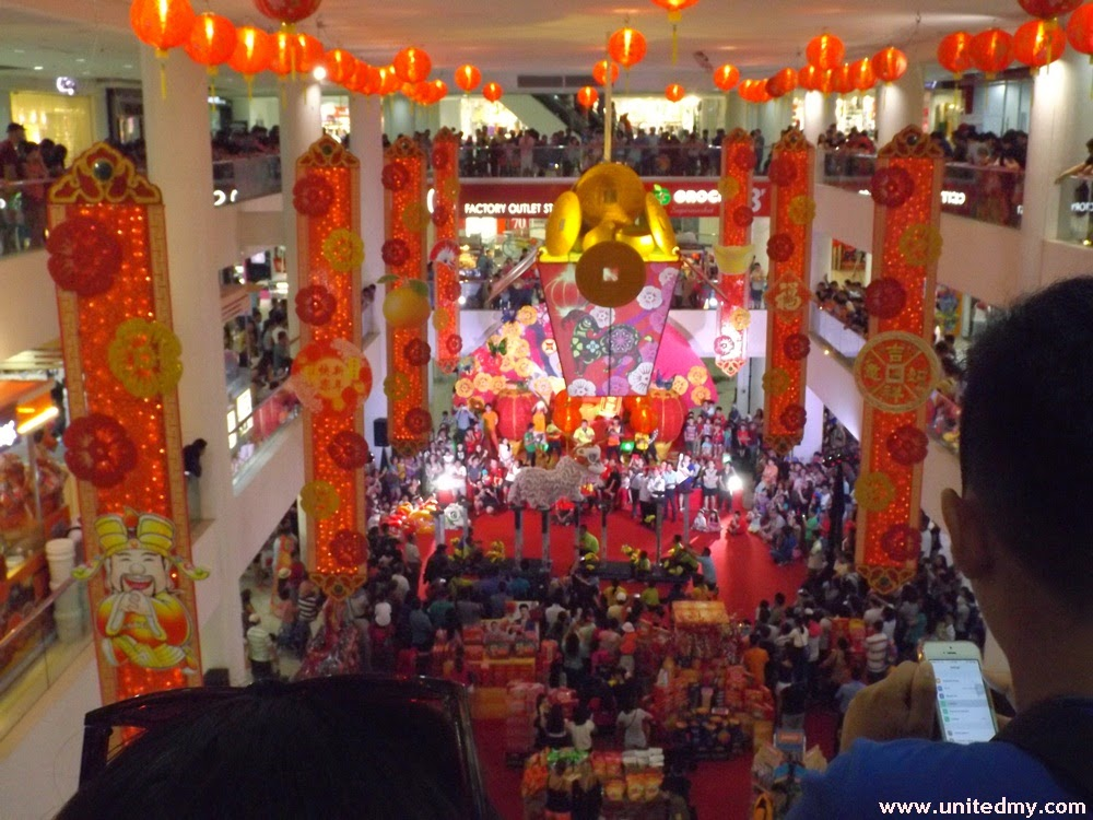 Heavily decorated Suria Sabah Shopping Mall During CNY 2015