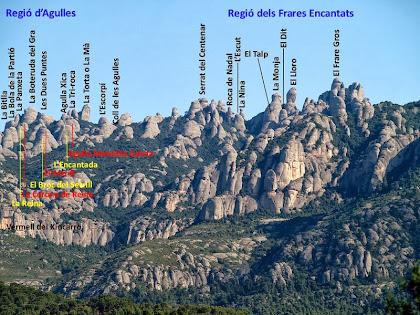 Les regions d'Agulles i dels Frares Encantats vistes desl camí carener de Les Rovires
