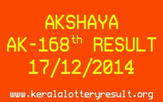 AKSHAYA Lottery AK-168 Result 17-12-2014