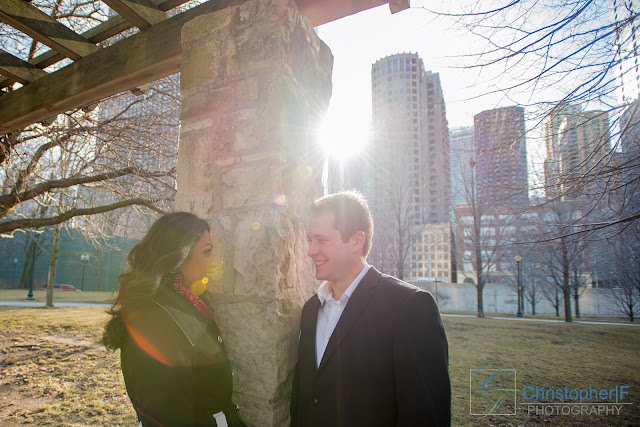 Chicago Engagement Olive Park Sun
