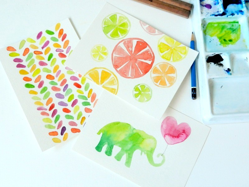 Original Watercolor Citrus, leaf, and elephant Paintings: Elise Engh- Grow Creative