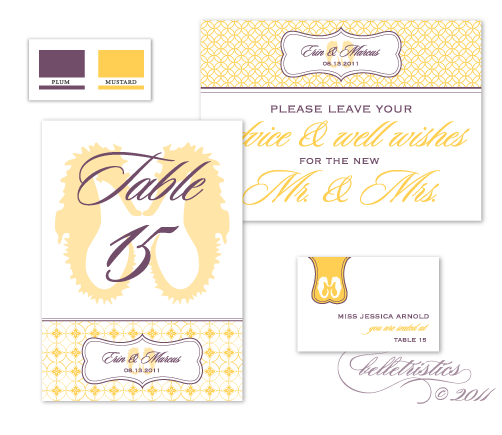 purple yellow diy printable sea horse themed beach wedding invitation suite