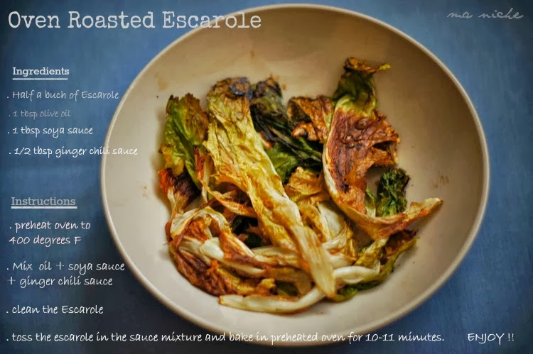 Oven roasted Escarole .... a quick healthy snack to accompany your cup ...
