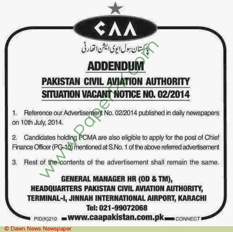 caa karachi jobs