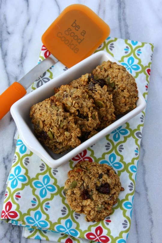 Breakfast cookies full of whole grains, nuts, seeds and dried fruit.