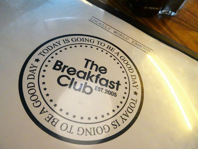 Close up of the The breakfast club menu