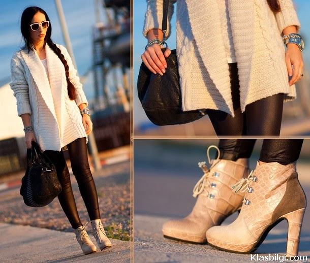 Black Tights and White Sweater,Leather Bag with Suitable Watch,Glasses and Light Colored Shoes