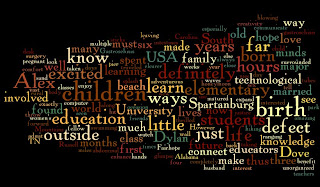 This wordle is a compilation of words from a blog post I wrote about myself. The words are written in different colors and arranged in different ways on the page.