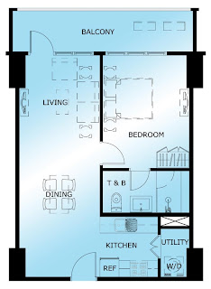 The Maridien at High Street South Block One Bedroom Unit Plan
