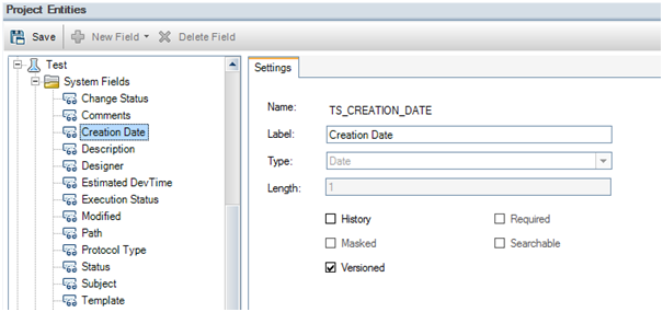 View of Fields in Project Entities ALM