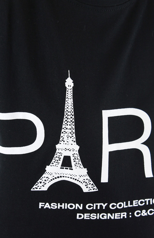 Parisian Eiffel Tower Tee - Black