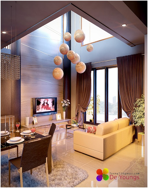 Living room with double height ceiling living and dining for Decoracion de salas minimalistas