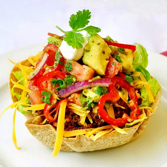 Low Fat Taco Salad with Chunky Avocado Tomato Salsa