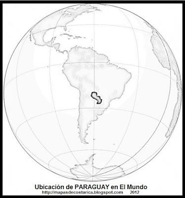 Ubicación de PARAGUAY en El Mundo, wikipedia, blanco y negro