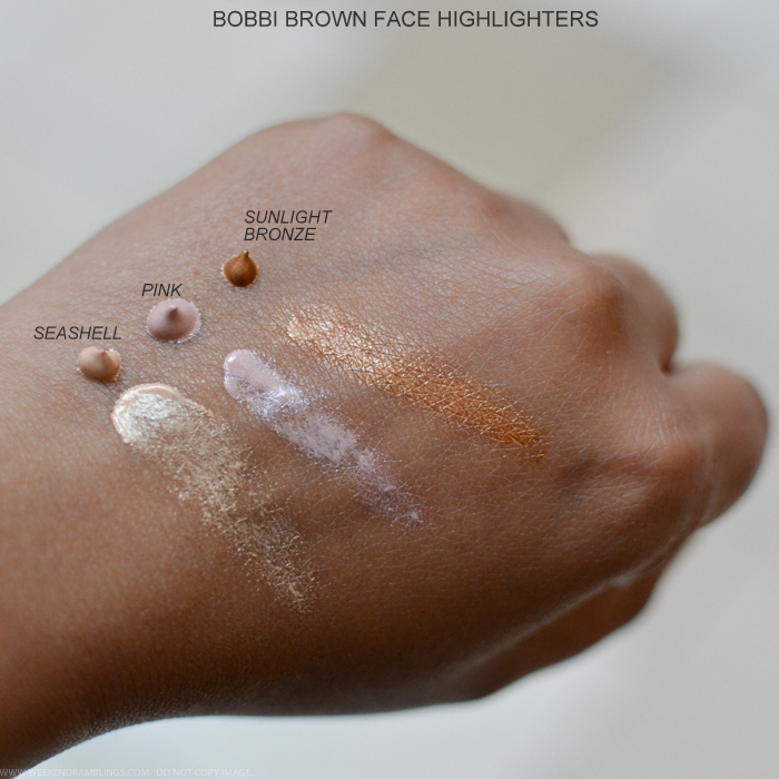 Bobbi Brown Sterling Nights Holiday 2015 Makeup Collection Photos Swatches Face Highlighter Seashell Pink Sunlight Bronze Swatches