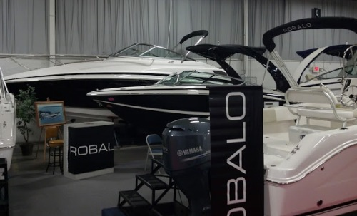 Robalo display at boat show