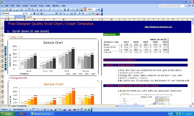 excel charts and graphs templates