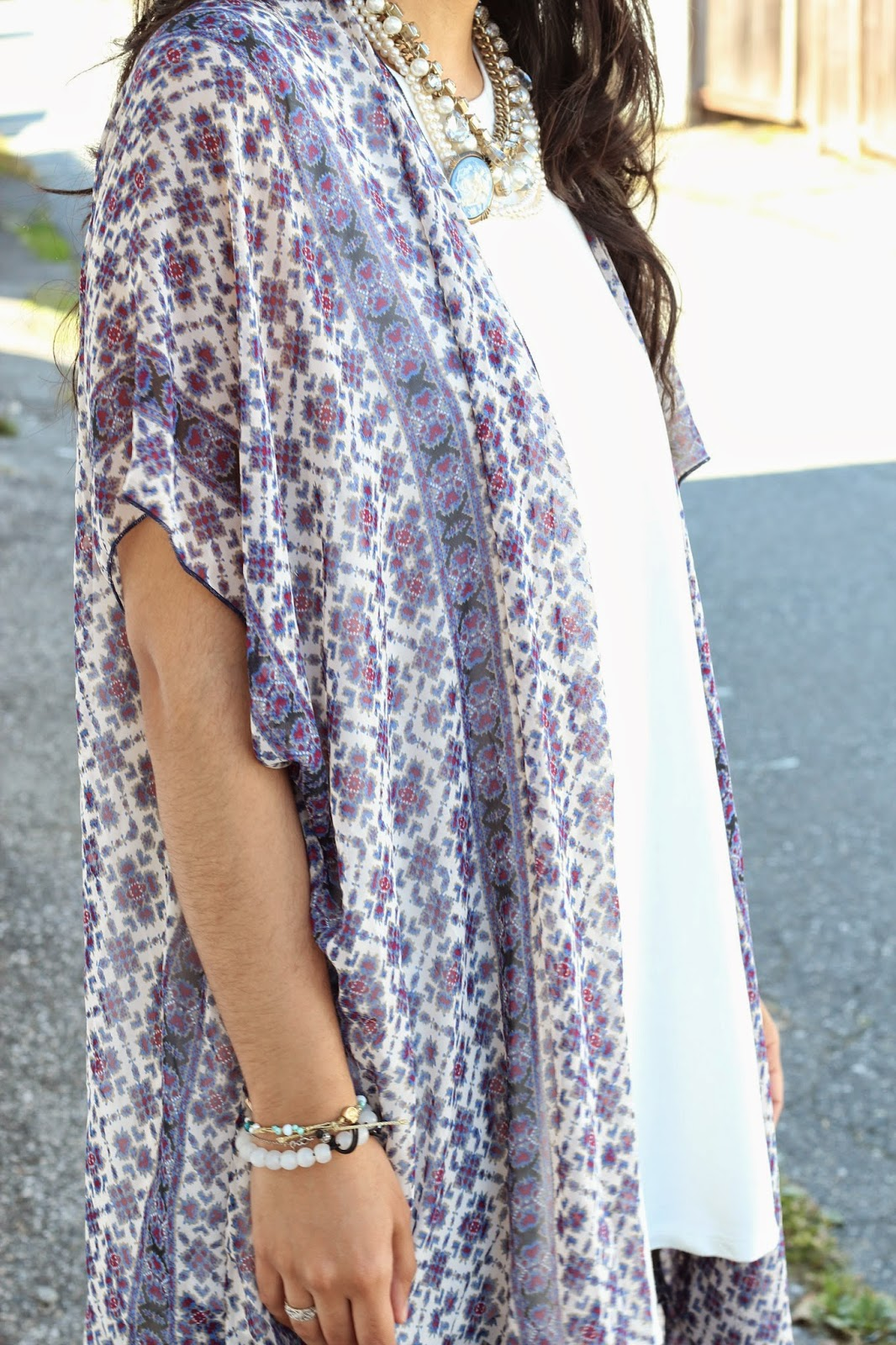 floral kimono jacket with white dress www.footnotesandfinds.com